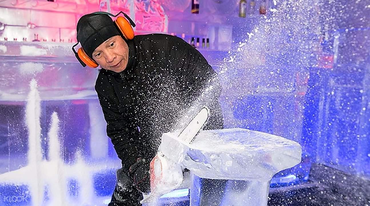 皇后镇零下5度冰吧手工冰雕