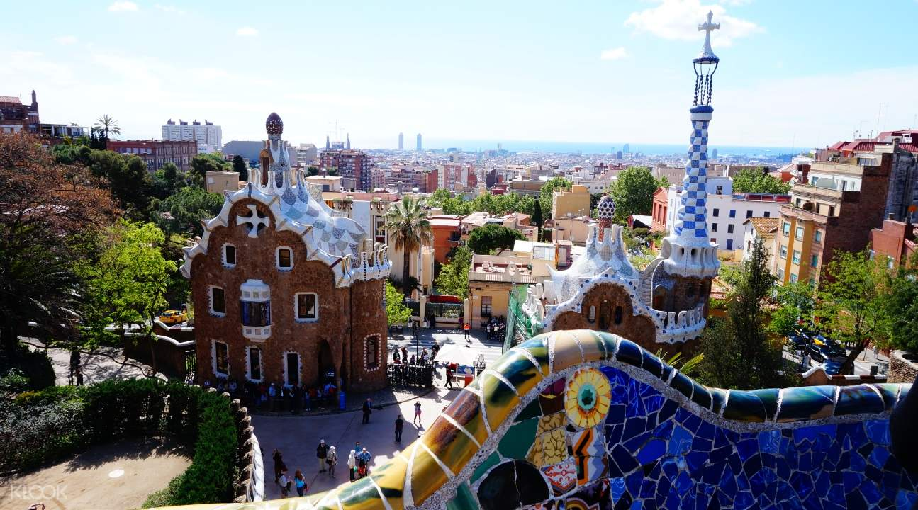 a view of Park Güell from the Serpentine Benches