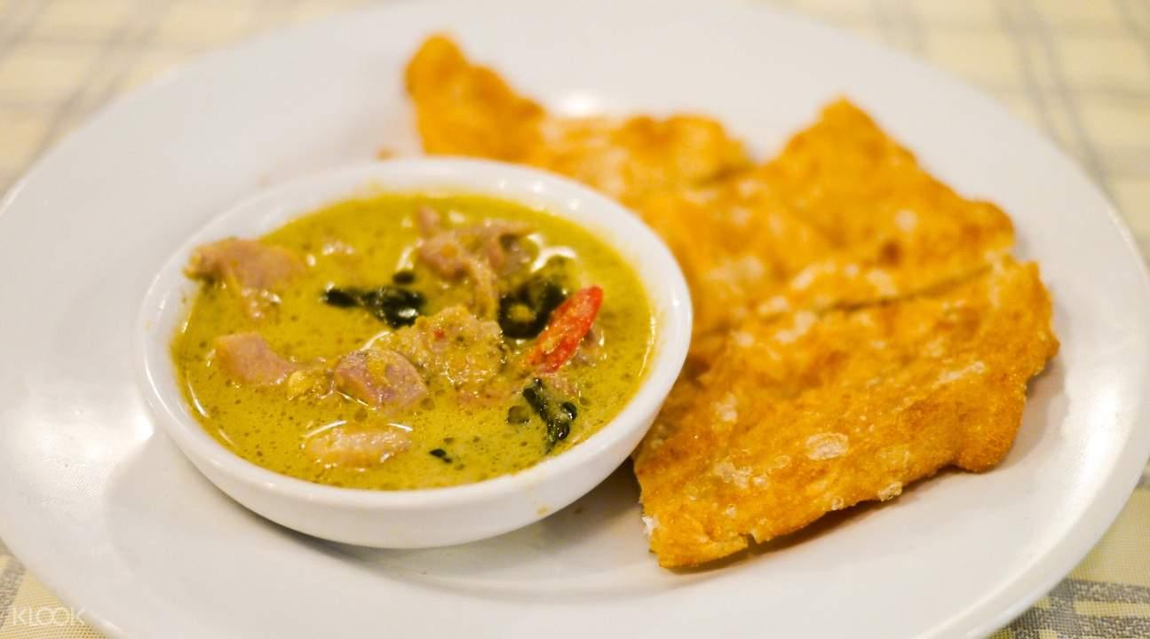Green Curry with Roti Bangrak Food Tour Bangkok Thailand