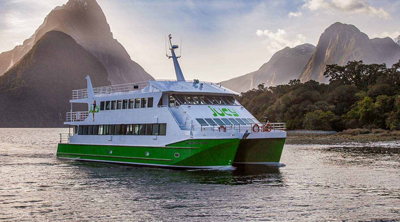 a vessel cruising along the Milford Sound