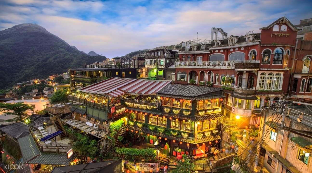 night time at jiufen old street