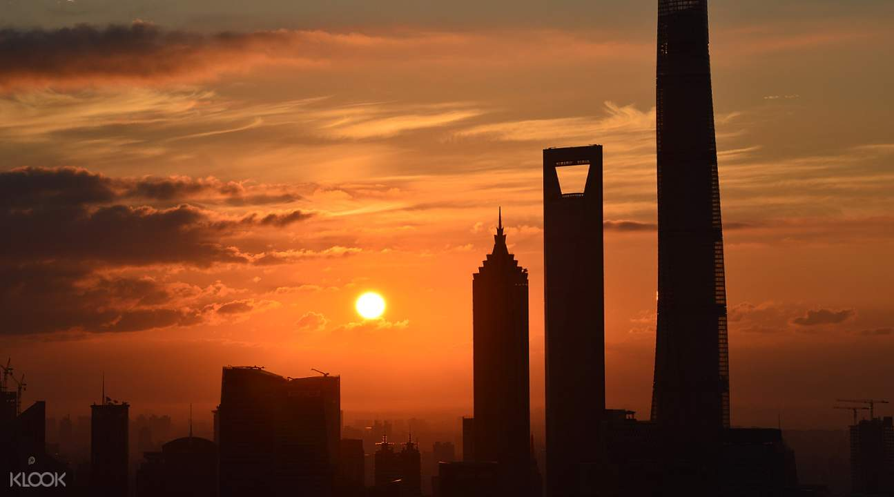 shanghai tower sunset