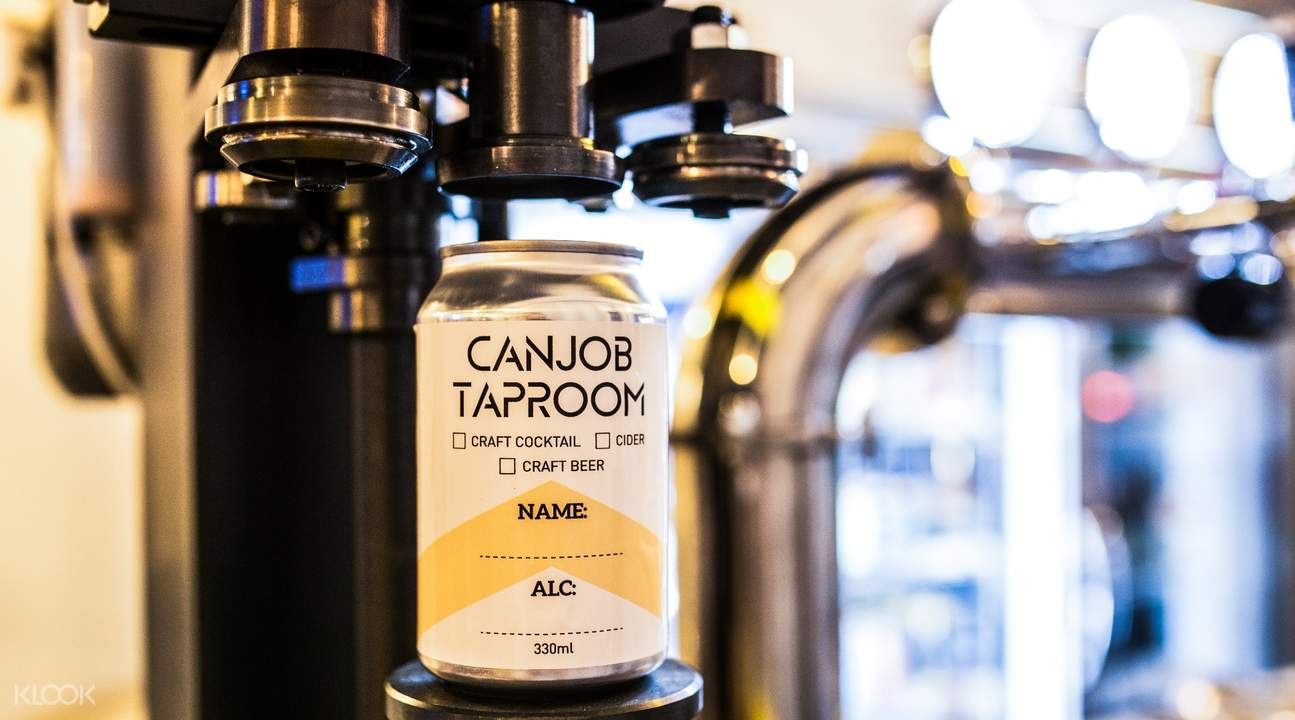 Machine to seal aluminium can at Canjob Taproom in Tiong Bahru