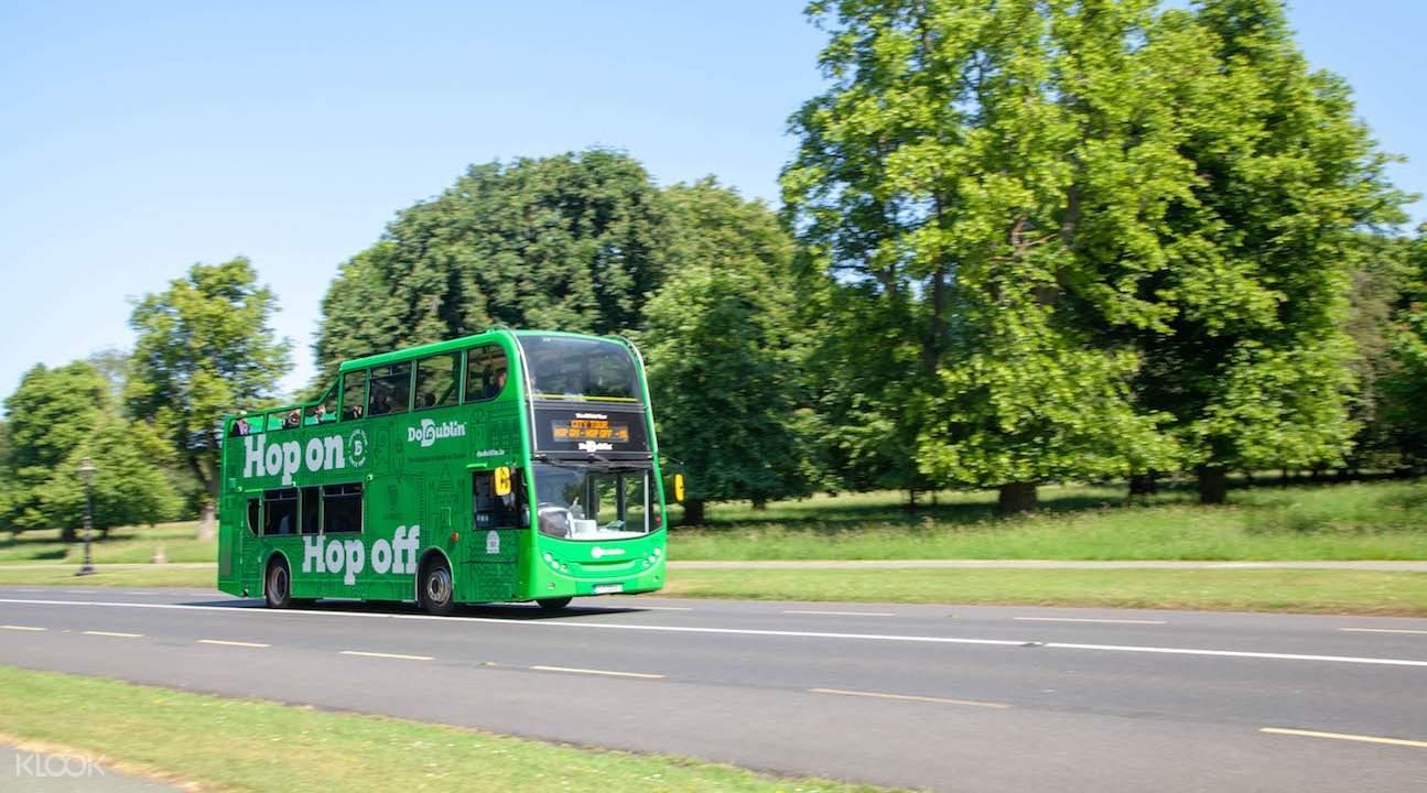 dodublin hop on hop off bus on the road