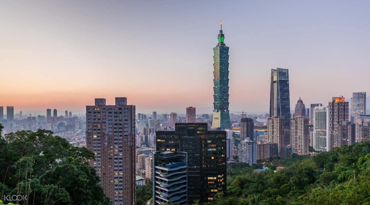 taipei cityscape at sunset