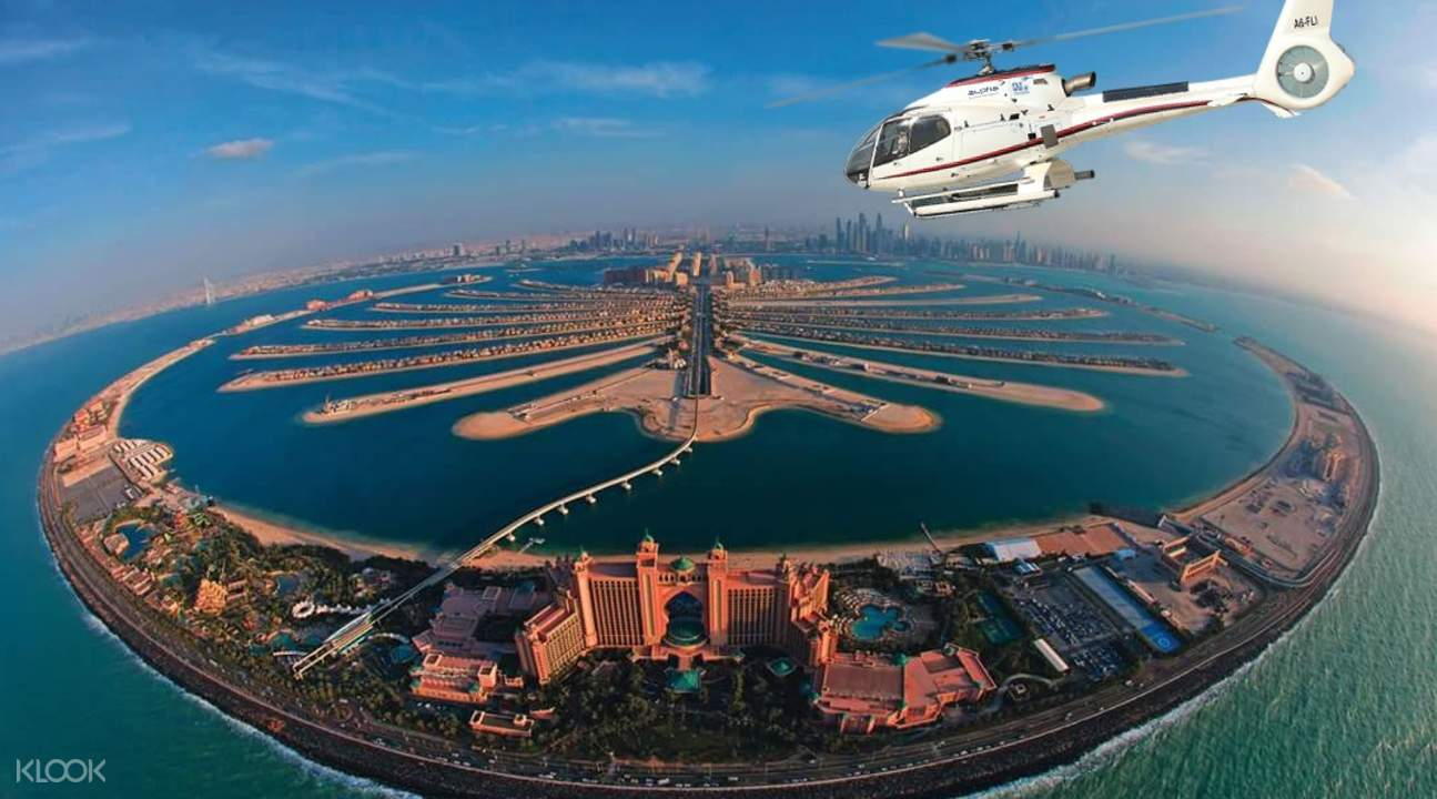helicopter sightseeing trip in dubai, best helicopter tour in dubai, helicopter ride around dubai, helicopter ride in atlantis dubai