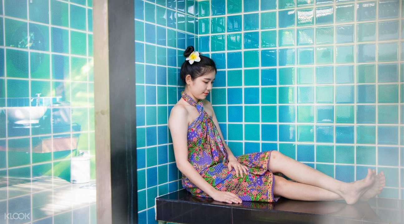 girl in steam bath