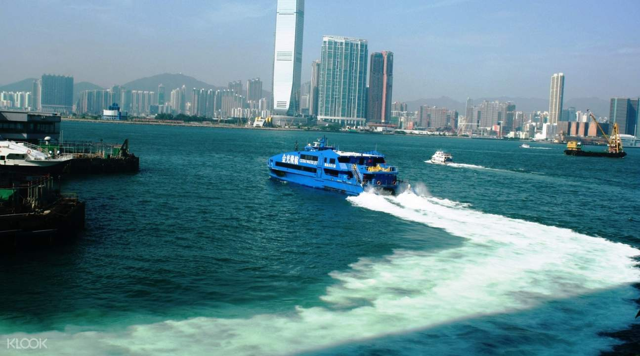 Cotai Water Jet in transit with a view of Hong Kong city