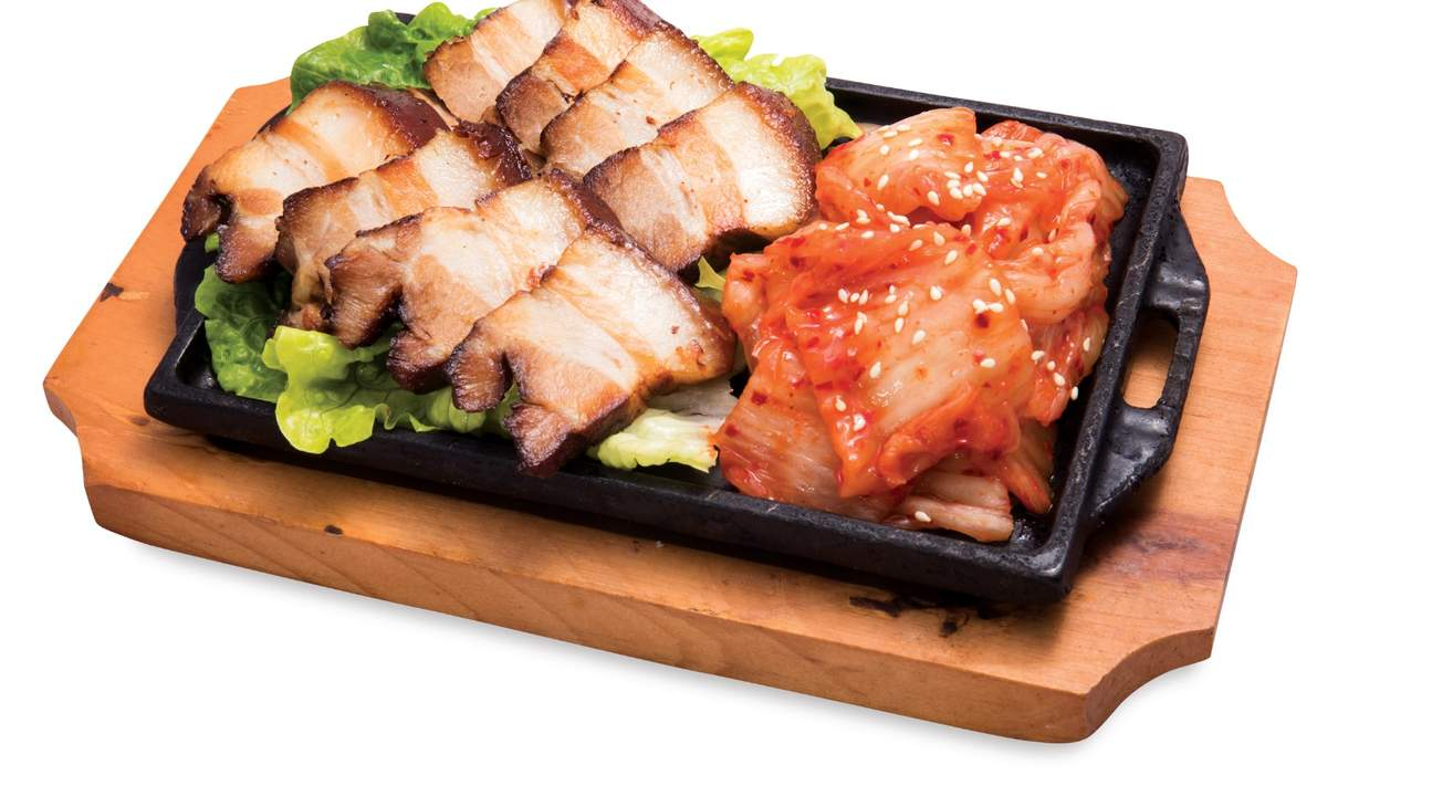 Hot Plate with Pork Belly and Kimchi at Kim's Gourmet in Causeway Bay