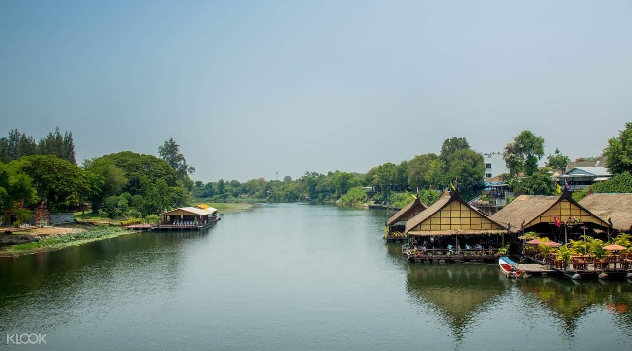 kanchanaburi river bamboo raft from bangkok thailand