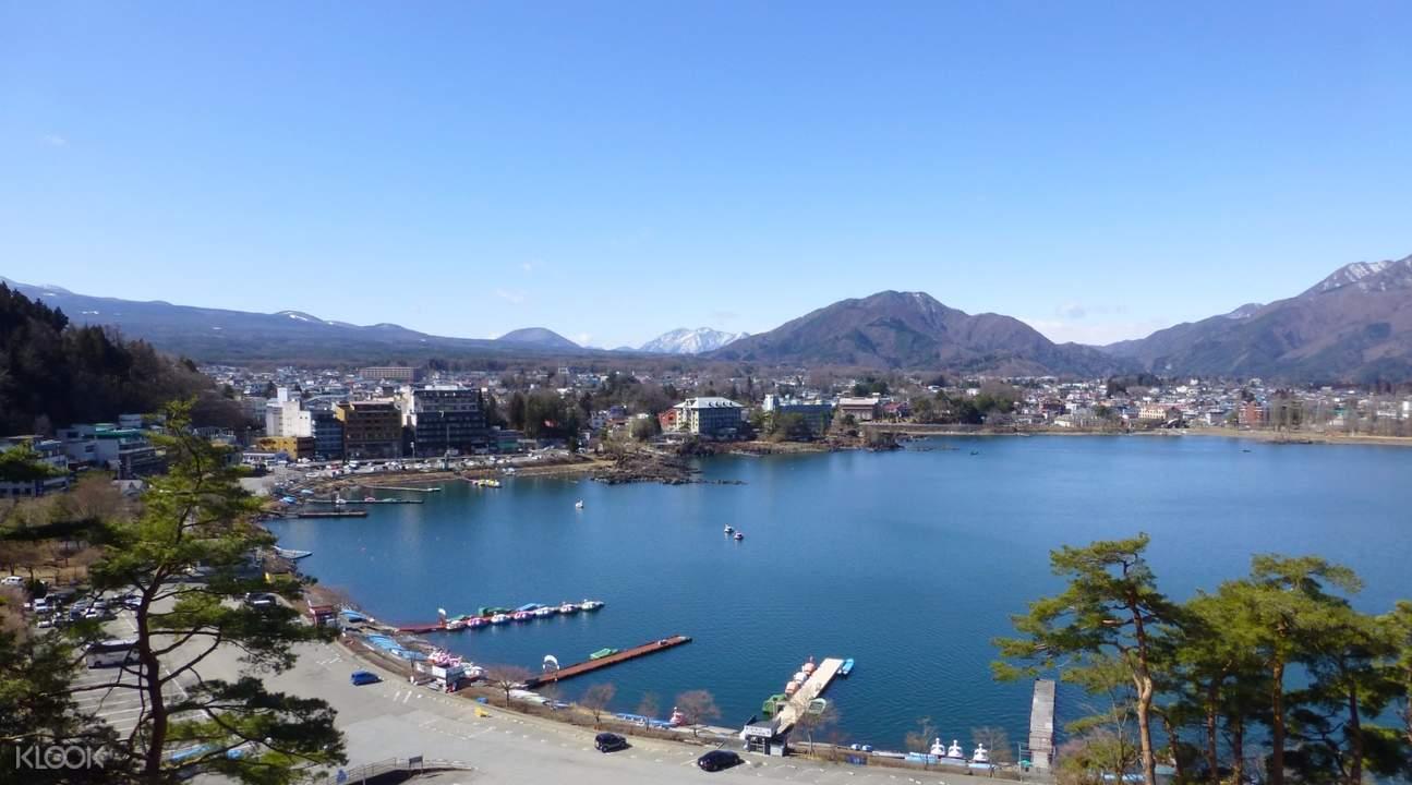 lake kawaguchi aerial view