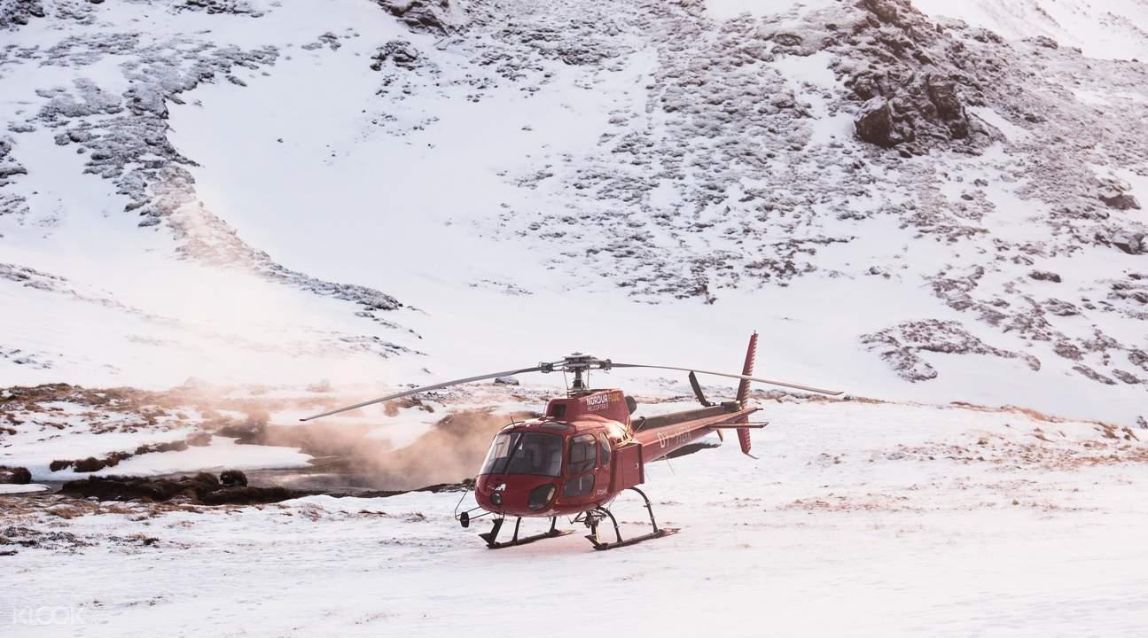 冰岛地热区直升机遨游