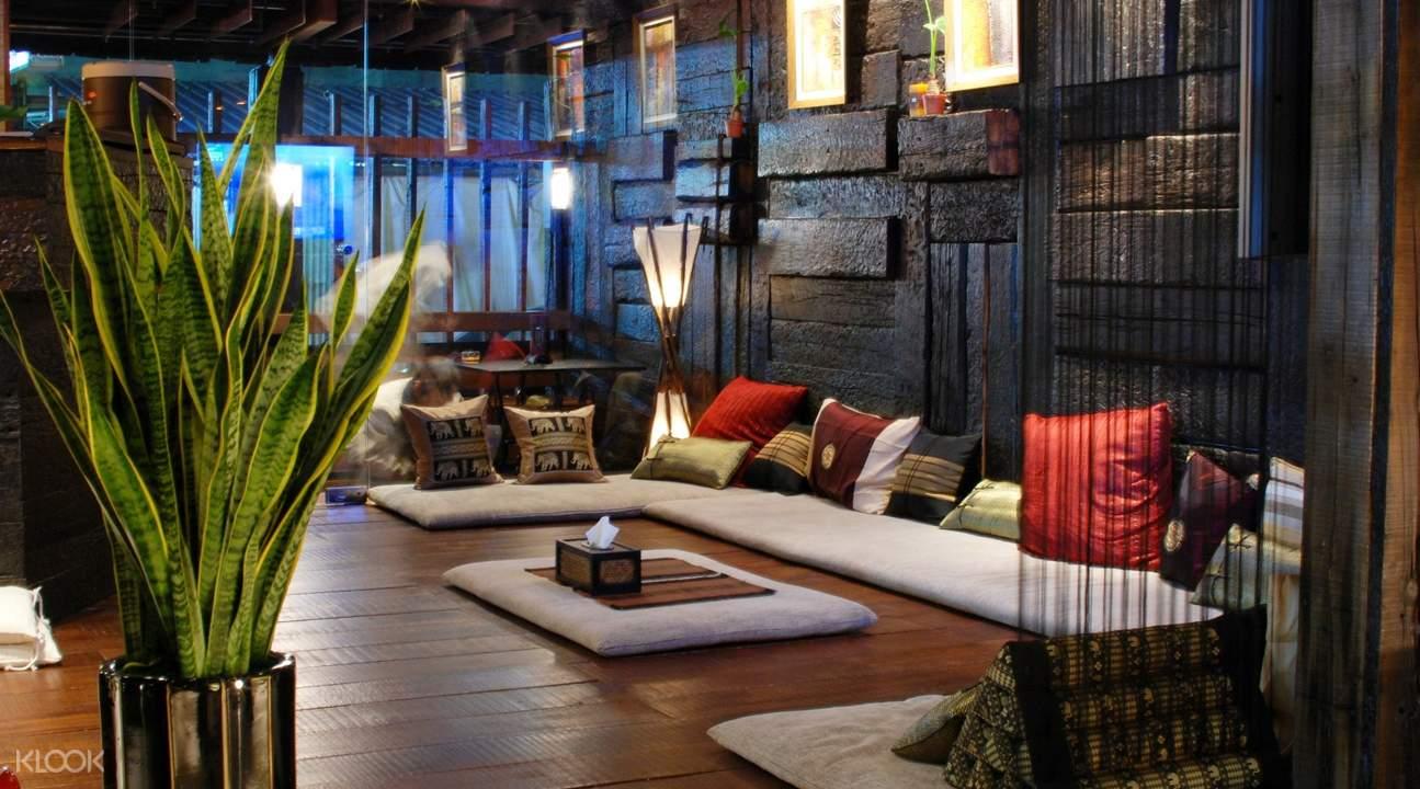 seats in public space of villa.like spa in taipei