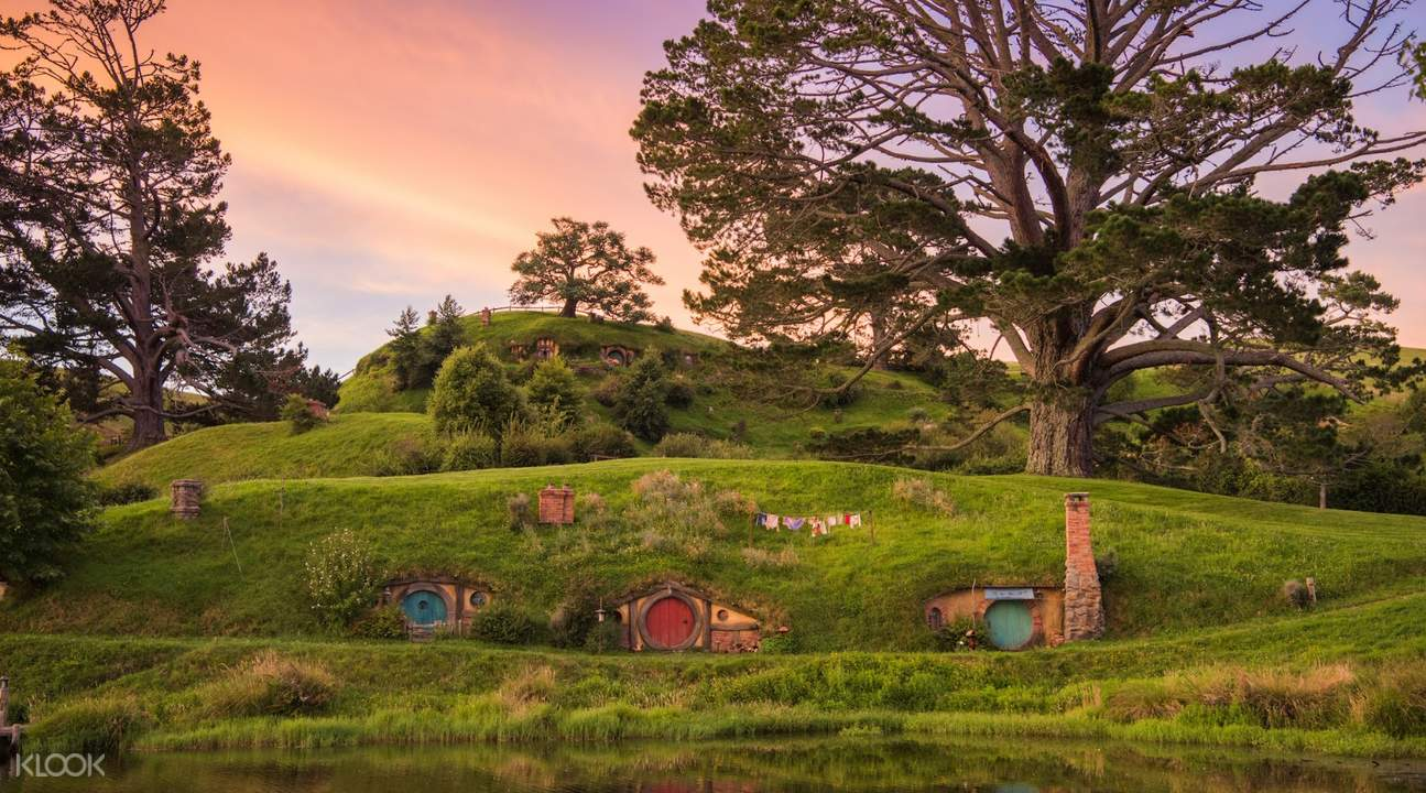 Hobbiton holes on a hill in New Zealand