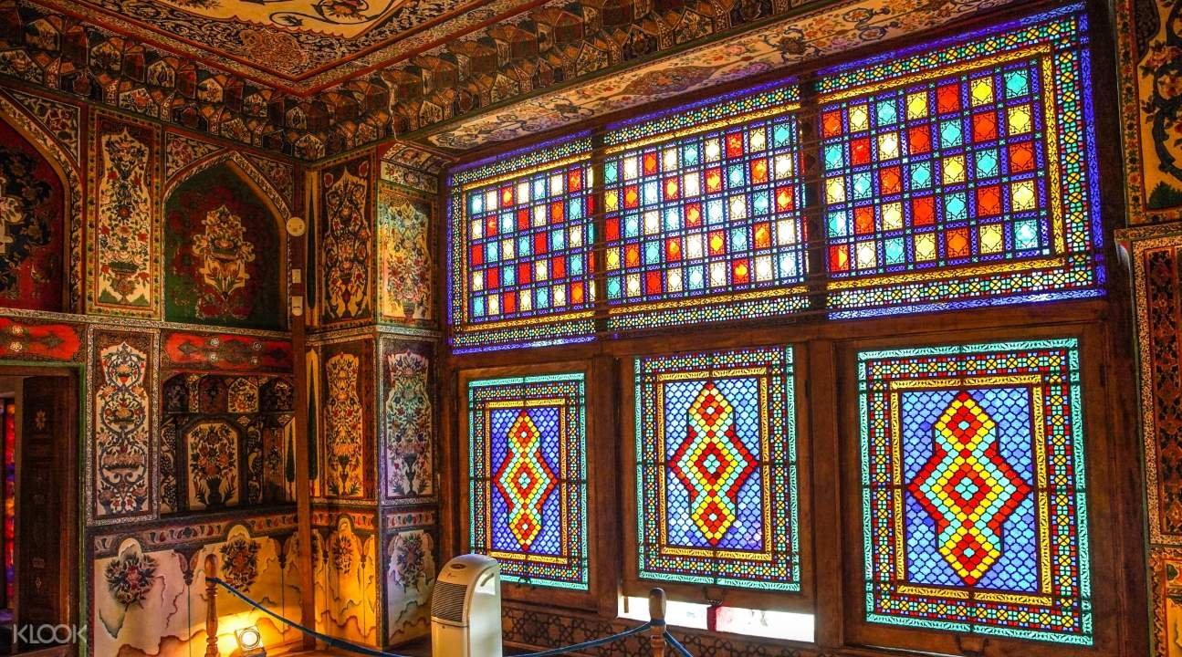 the stained glass windows of the Palace of the Shaki Khans