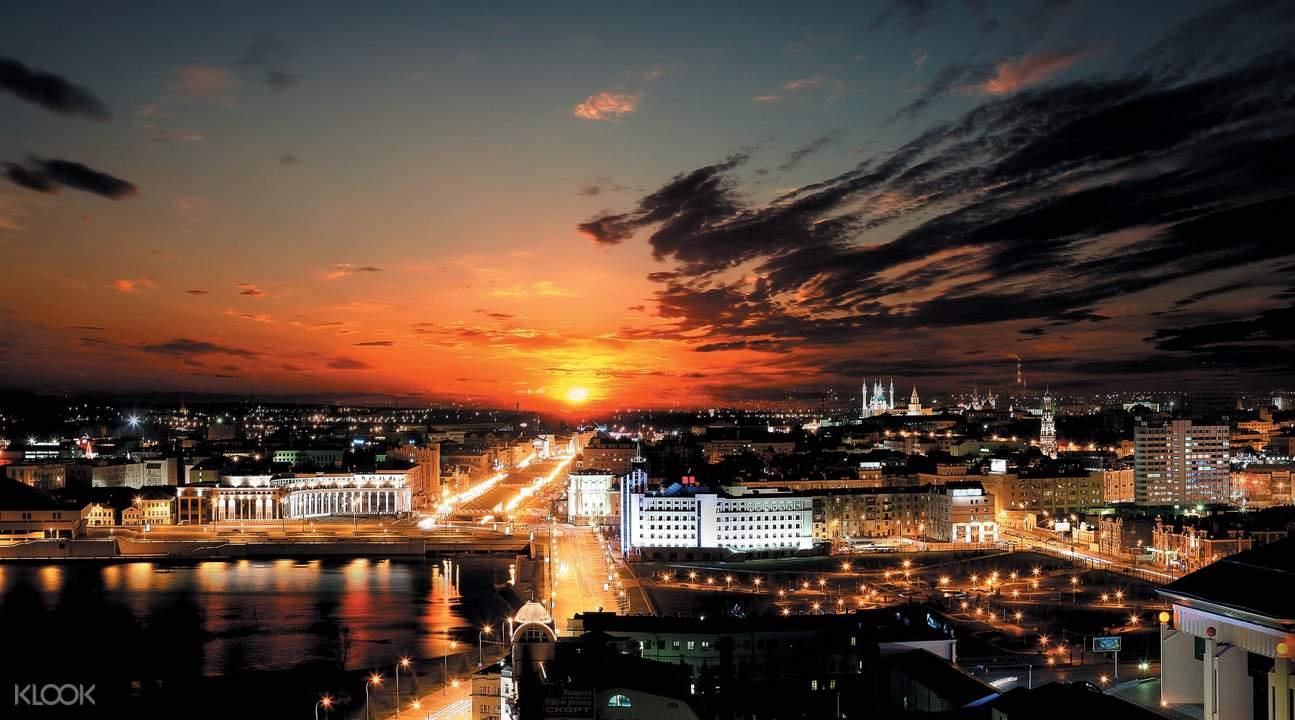 buildings in kazan during sunset