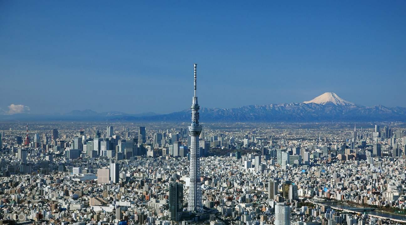Kết quả hình ảnh cho Tháp Tokyo Skytree núi phú sĩ