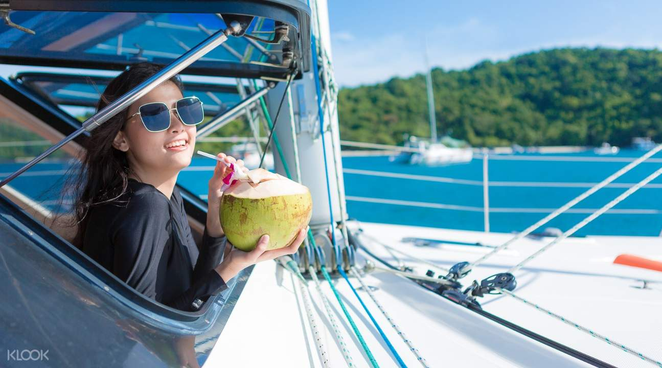 fresh coconut Racha and Coral Island Sunset Day Tour