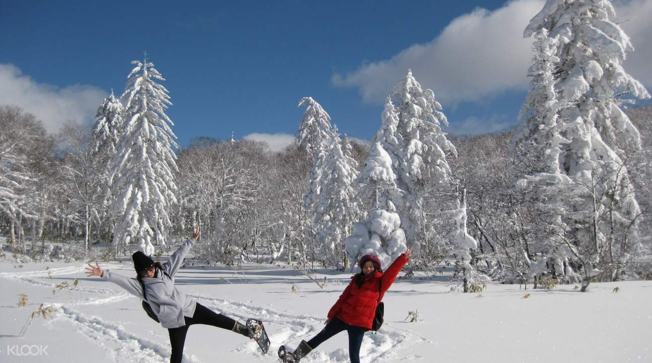 Visitors taking pictures with Noboribetsu Snow Monsters