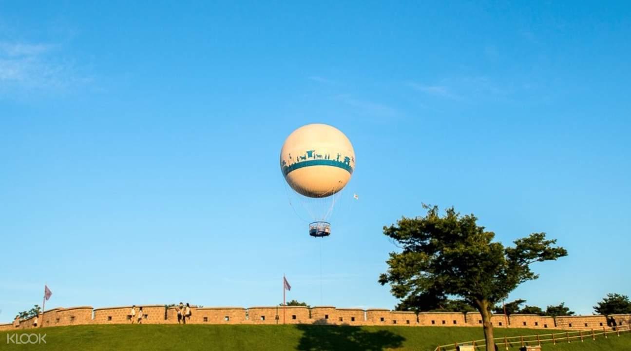 hot air balloon above suwon hwaseong
