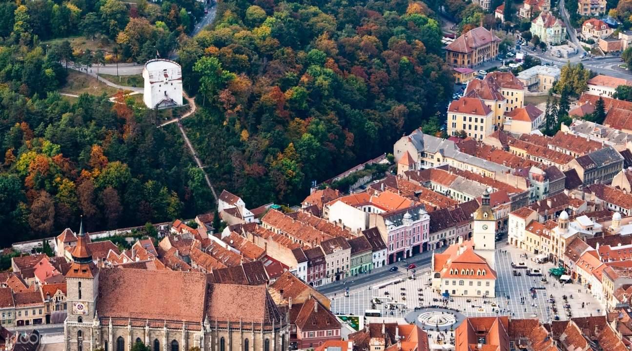 aerial view of brasov