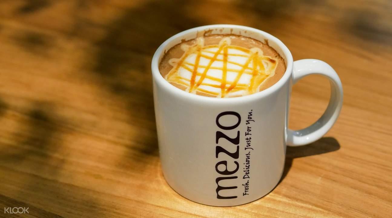 Hot Caramel Macchiato at Mezzo Coffee in Bangkok