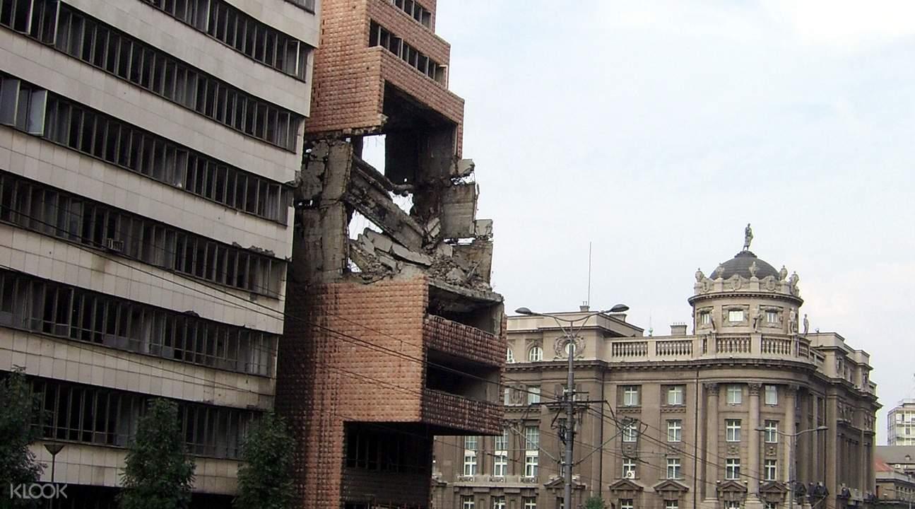 塞尔维亚办公大楼的遗址