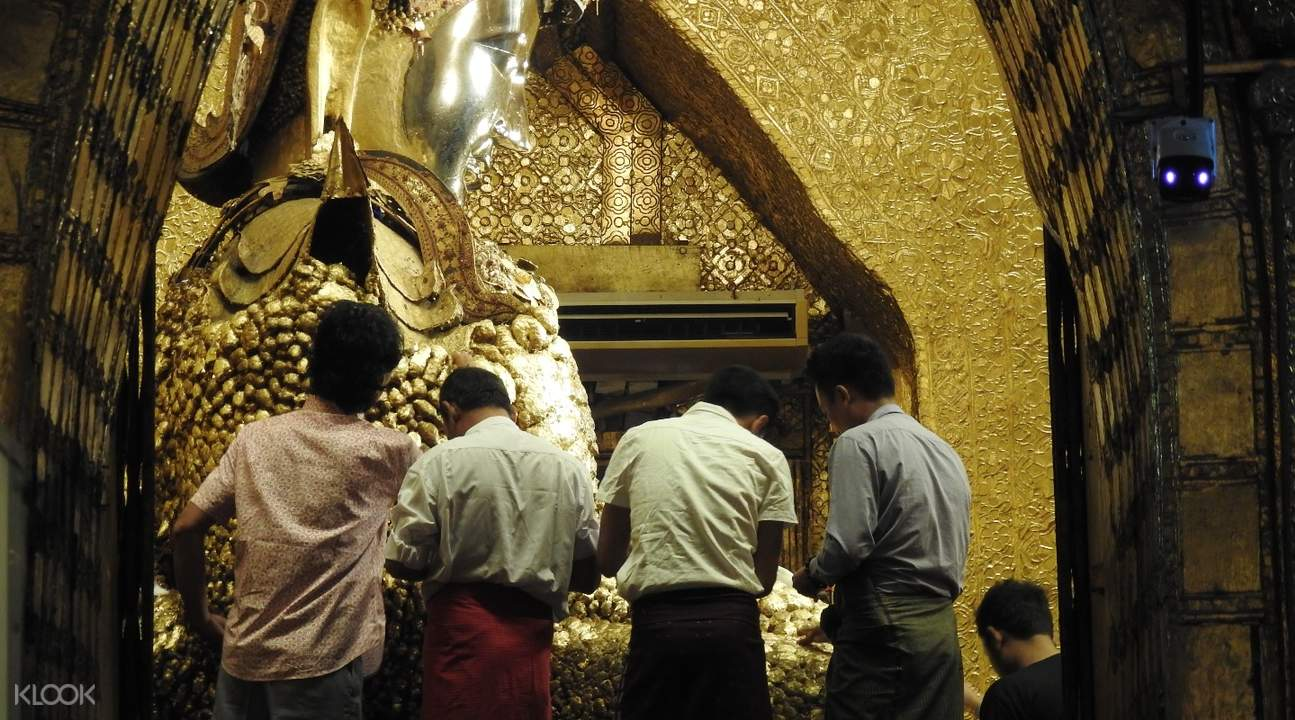mahamuni pagoda gold leaves mandalay myanmar