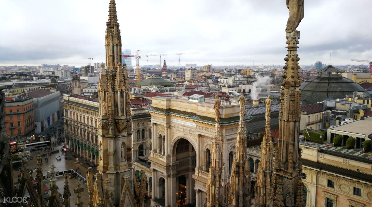 a view of Milan from the terraces of the Duomo di Milano
