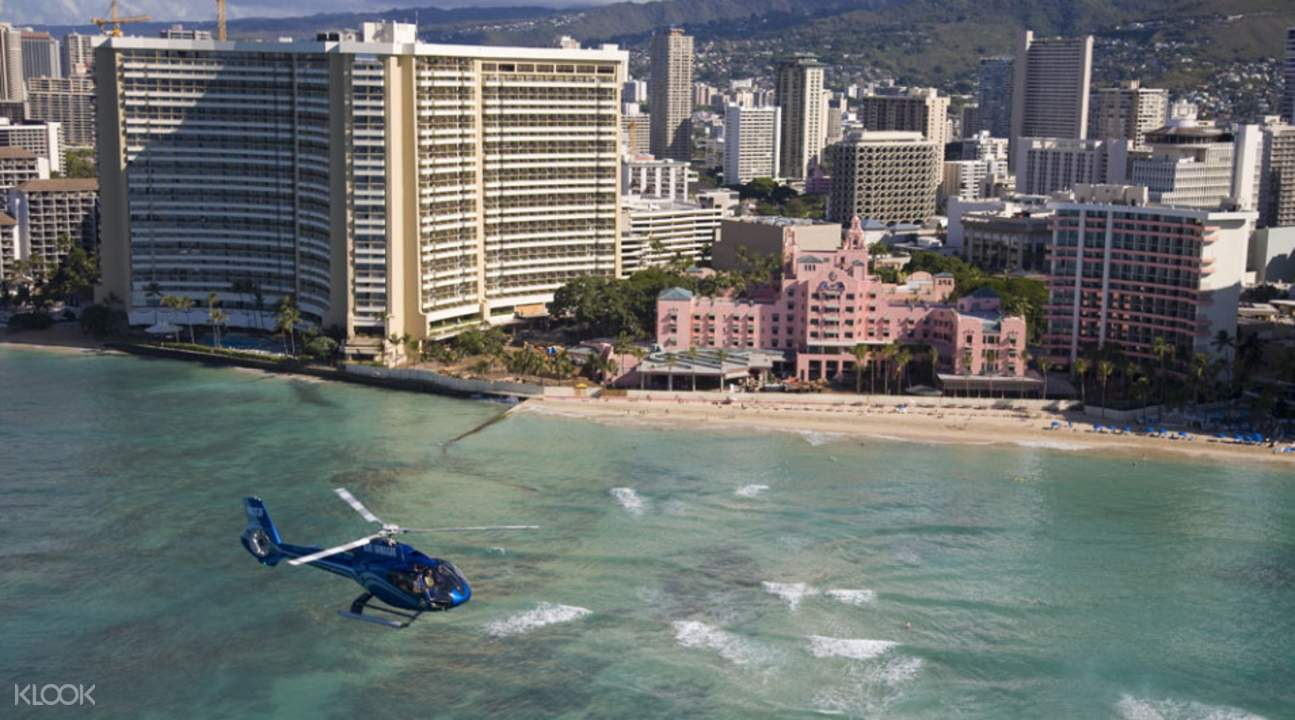 helicopter and the waikiki beach