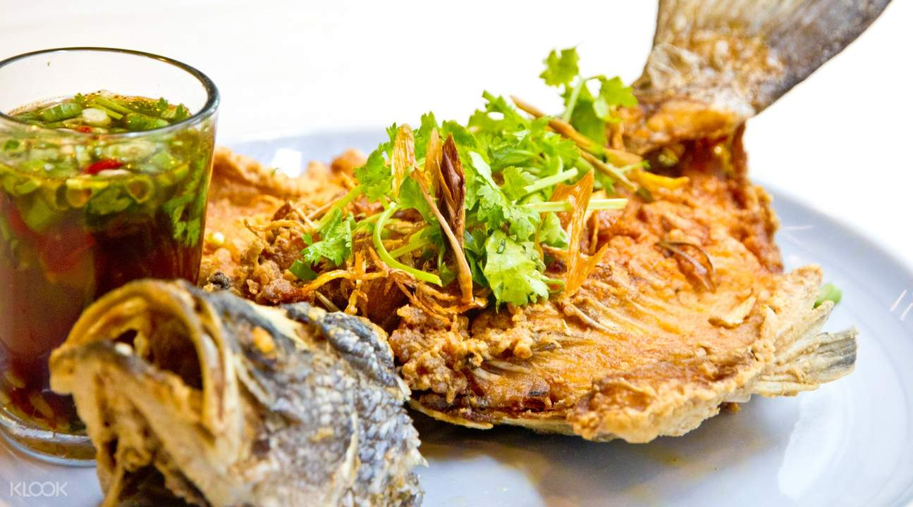 Deep Fried whole Seabass with Spicy Ginger Sauce at Som Tam in Orchard Road