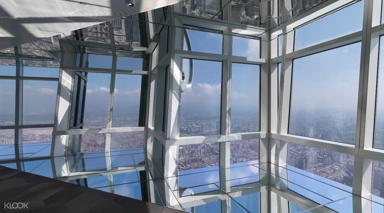 windows inside Taipei 101