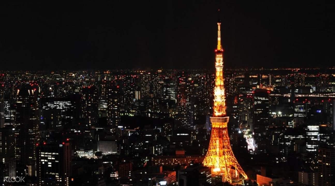 東京鐵塔晚上打燈