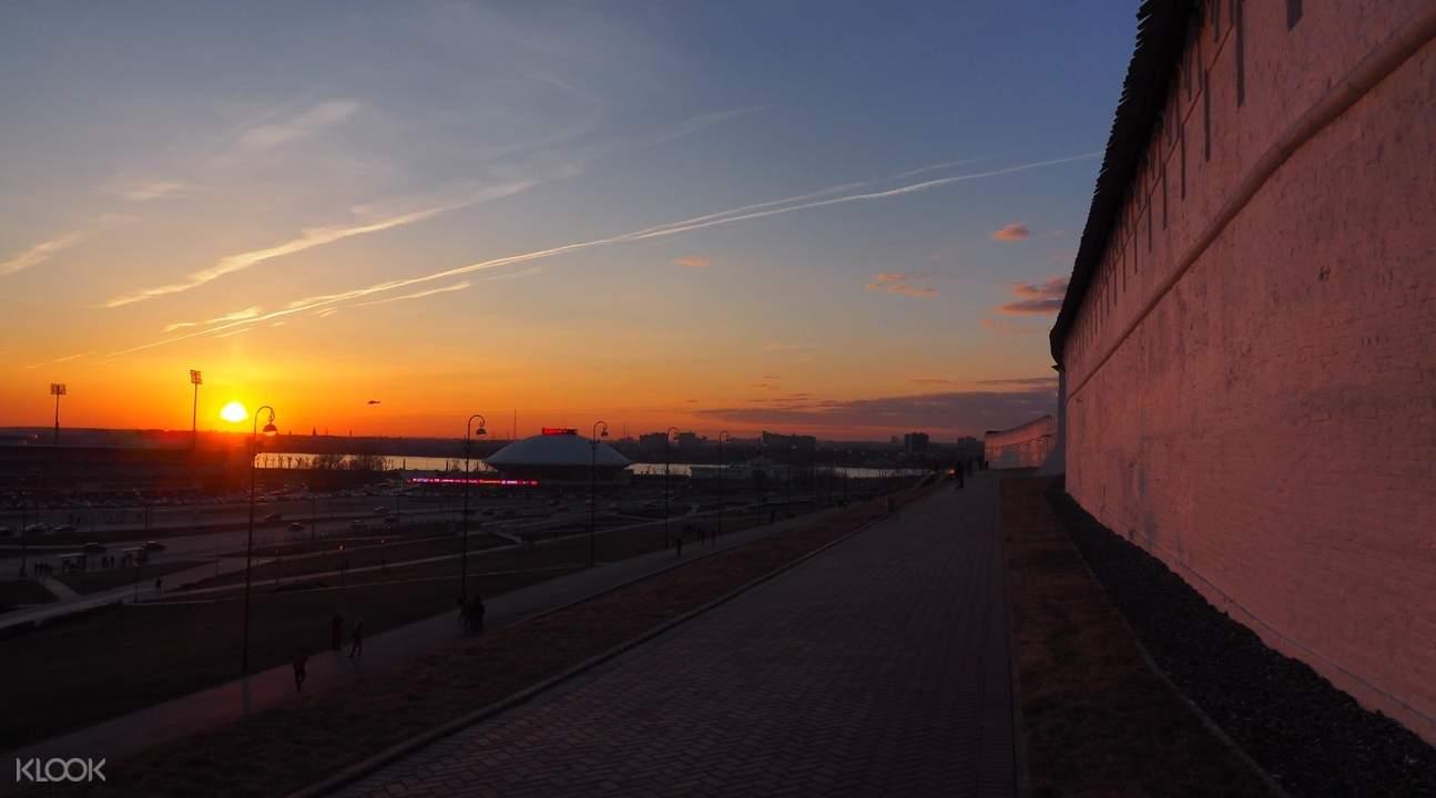 wall in kazan during sunset