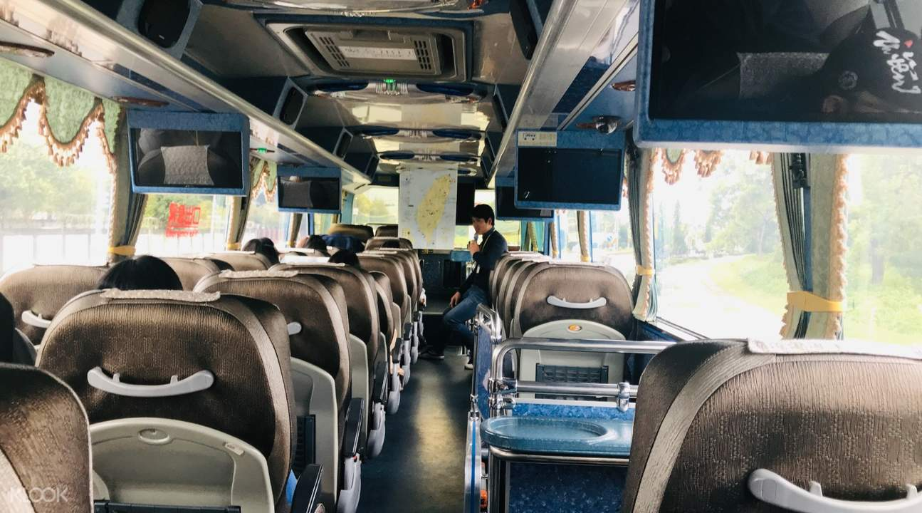 inside the bus for the day tour in hualien from taipei