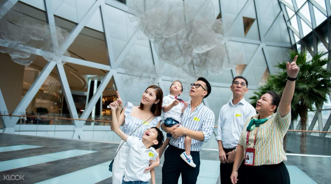 Family of tourists in Jewel Changi