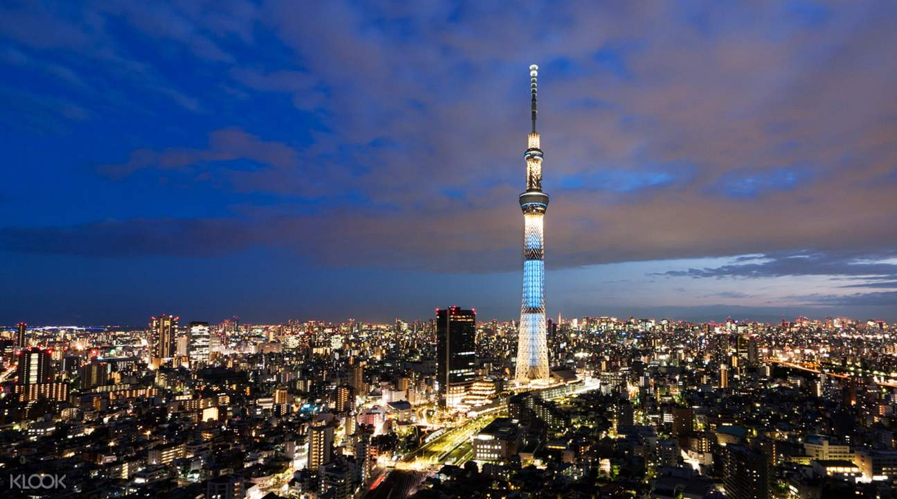 tokyo skytree and tokyo city view during the evening