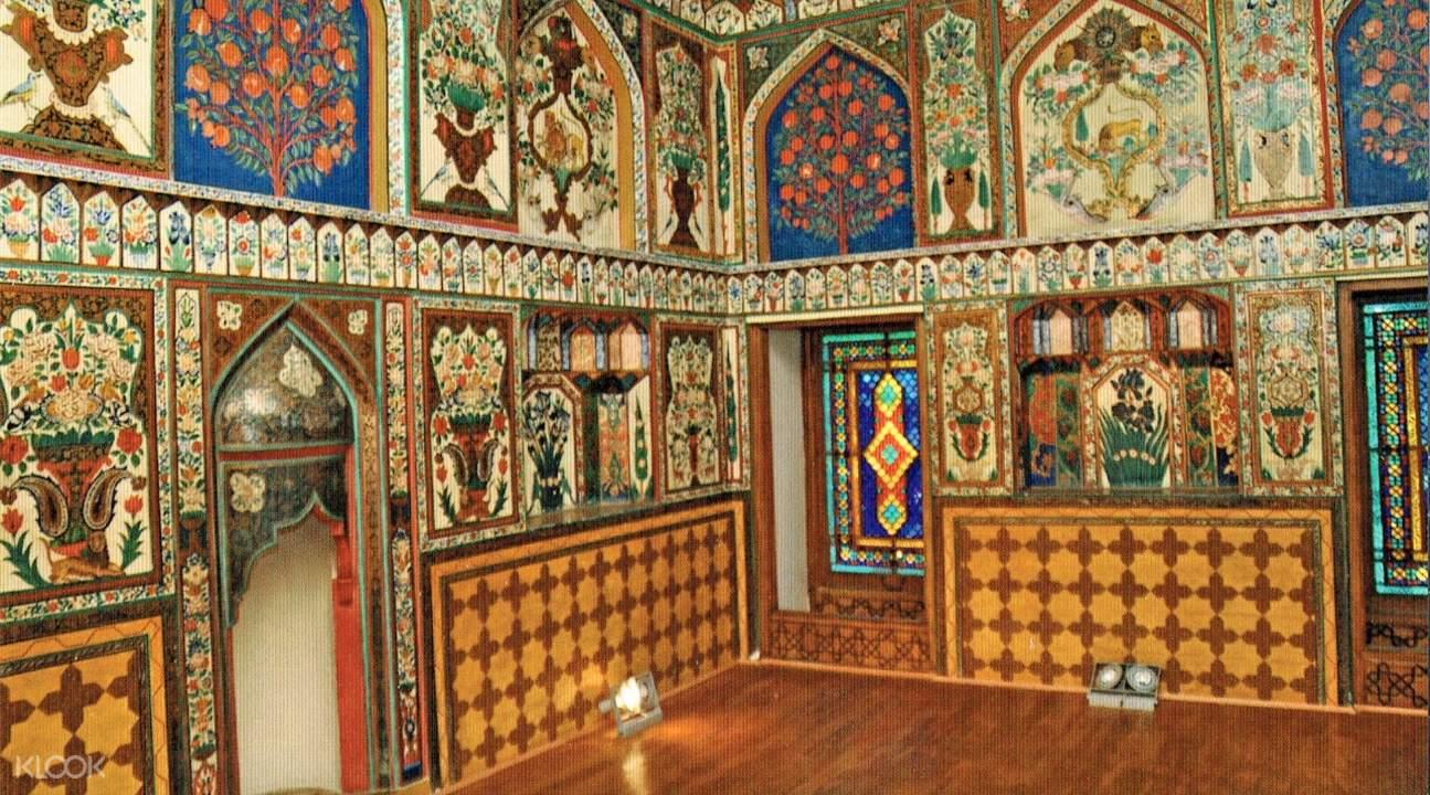 the interiors of the Palace of the Shaki Khans in Shaki, Azerbaijan