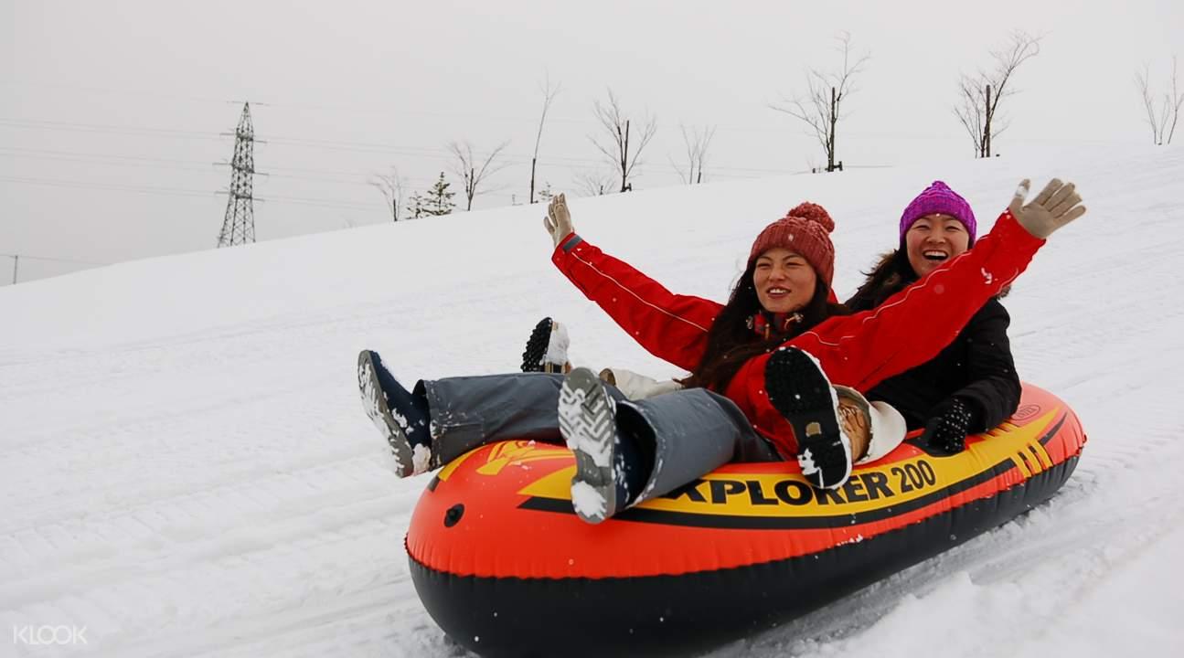 親子同樂,北海道Rurumap札幌戲雪樂園香蕉船