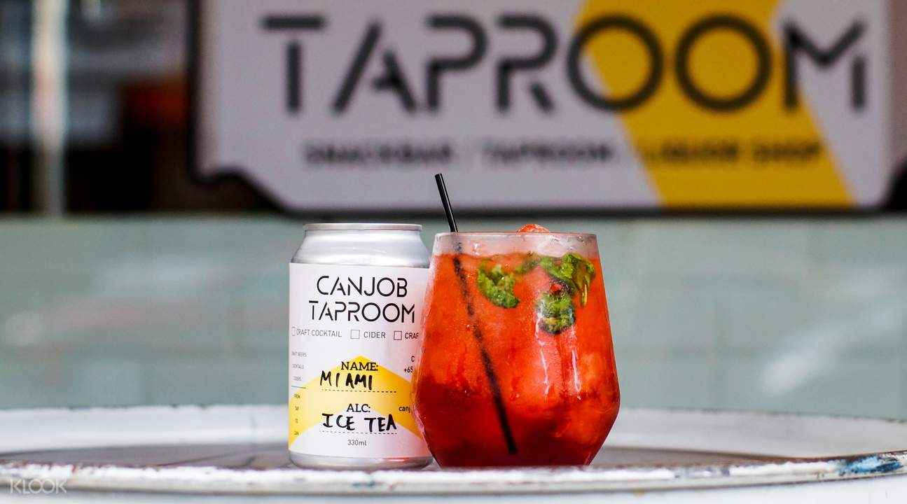 Ice tea in a can at Canjob Taproom in Tiong Bahru