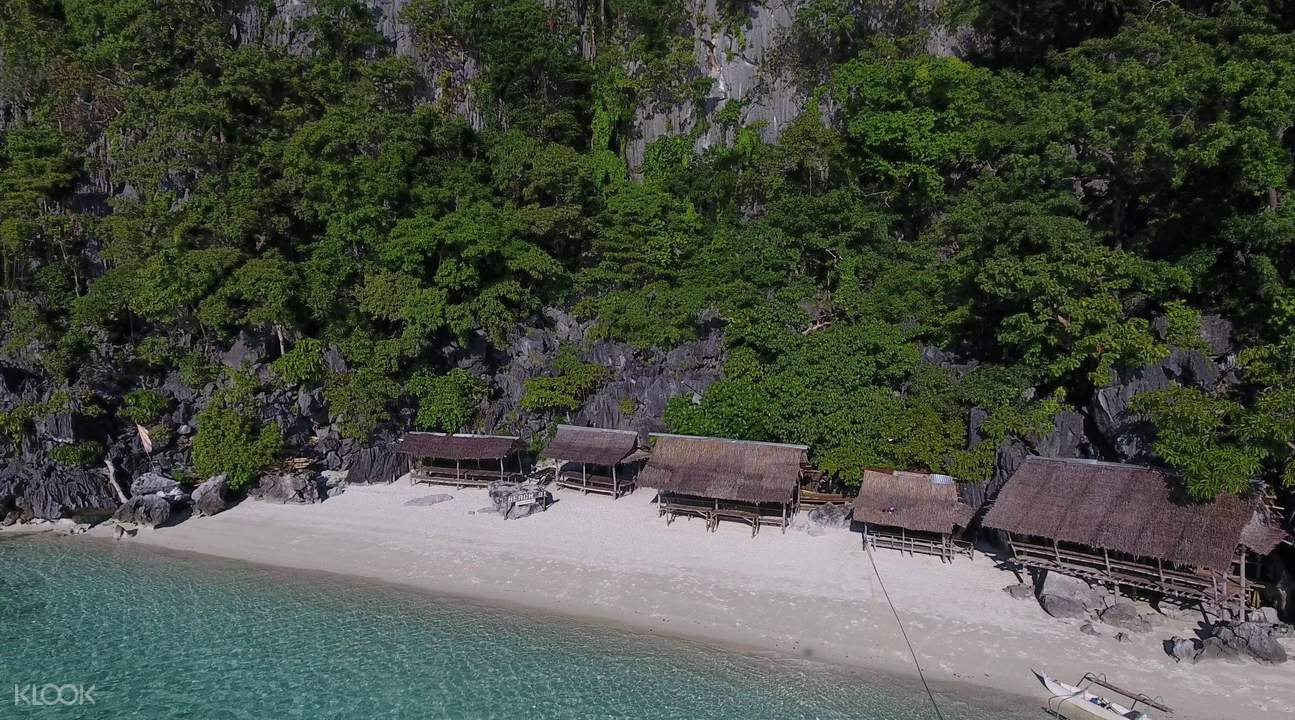 aerial view of huts and trees in beach 91