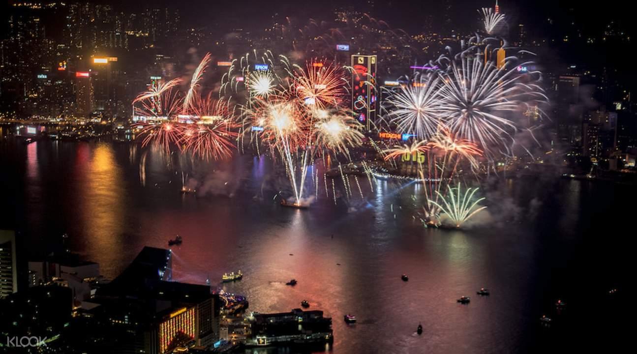 2018维多利亚港跨年烟花汇演