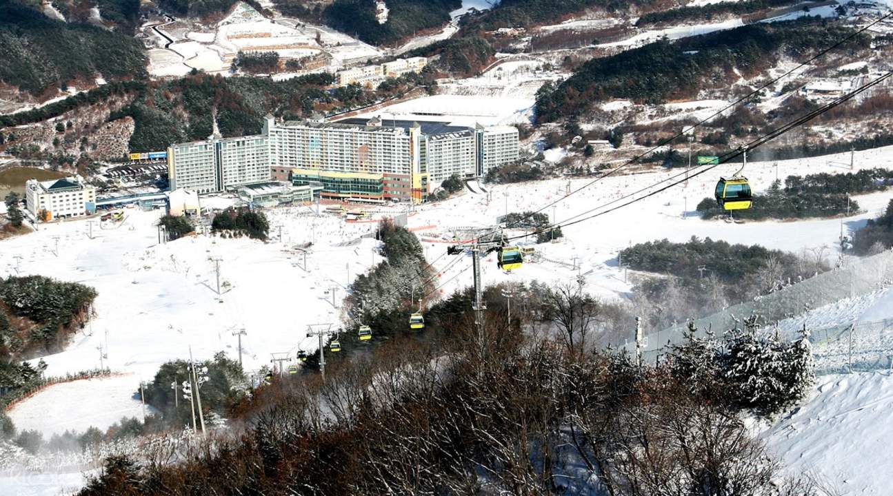 Snow covered mountain and hotel