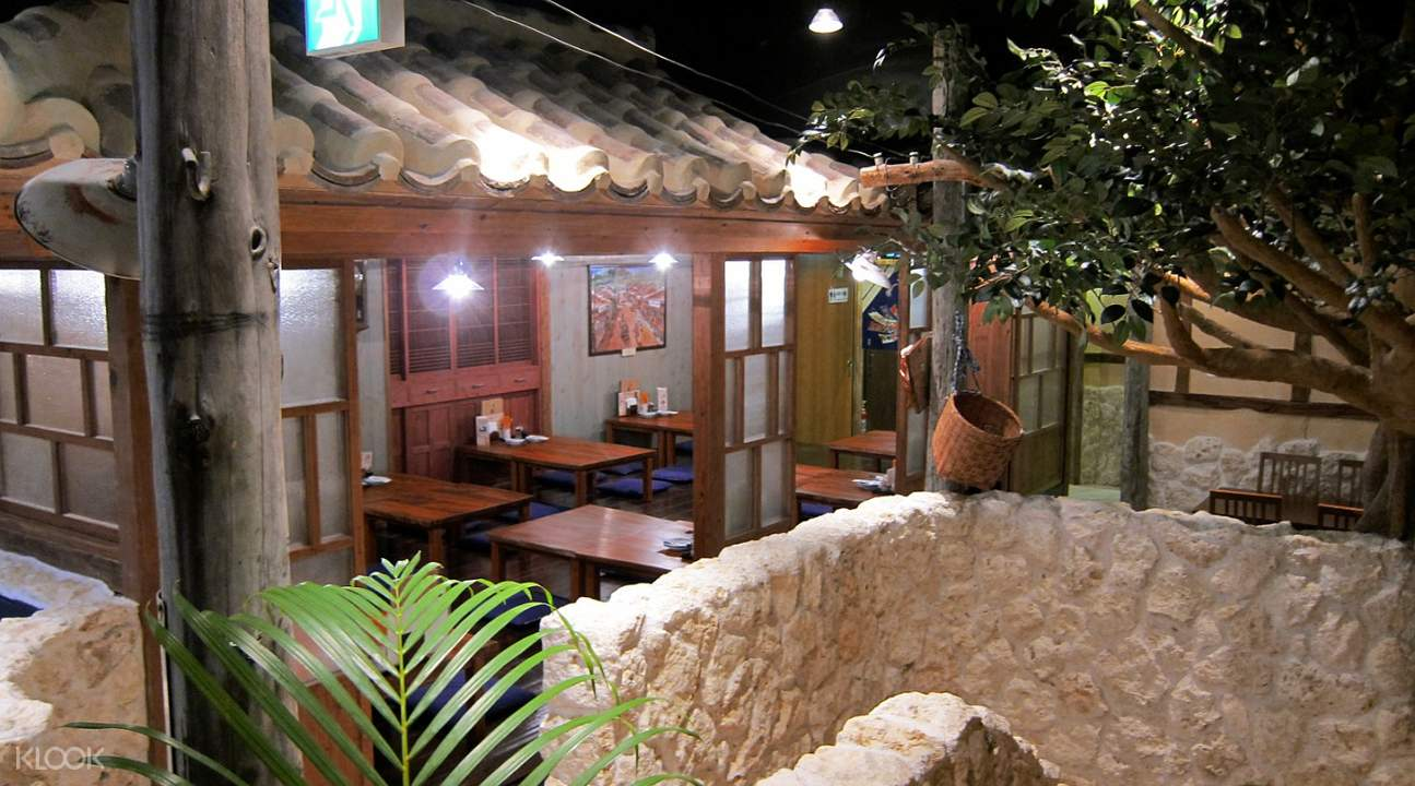 traditional interior Okinawan Course Meal with Free Drinks and Shamisen Show