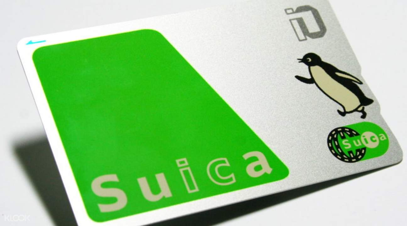 a close up of the Suica IC Card; there's a cartoon penguin on it