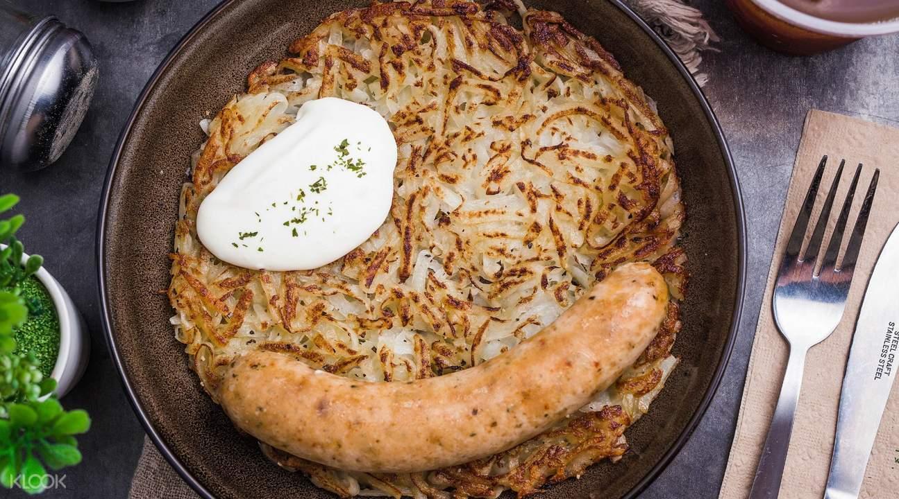 rosti with bratwurst munch saladsmith dhoby ghaut
