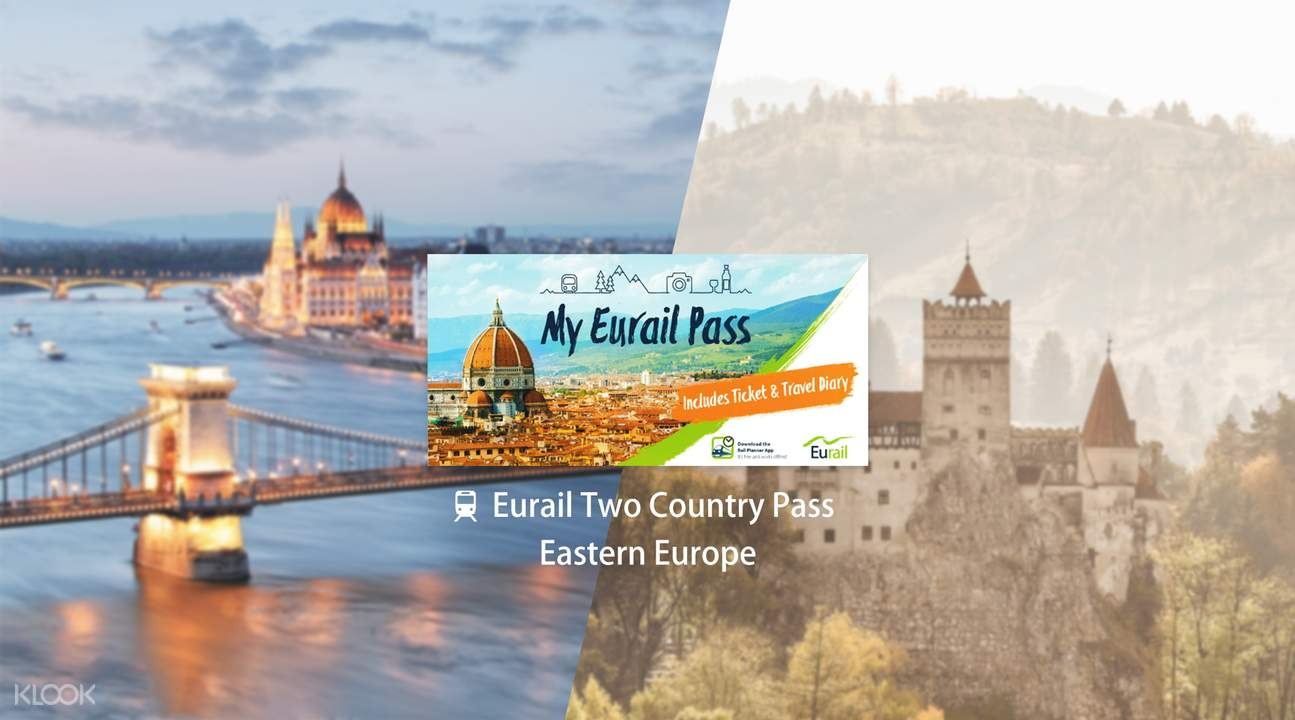 eurail 2 country pass eastern europe (4, 5, 6, 8 or 10 days)