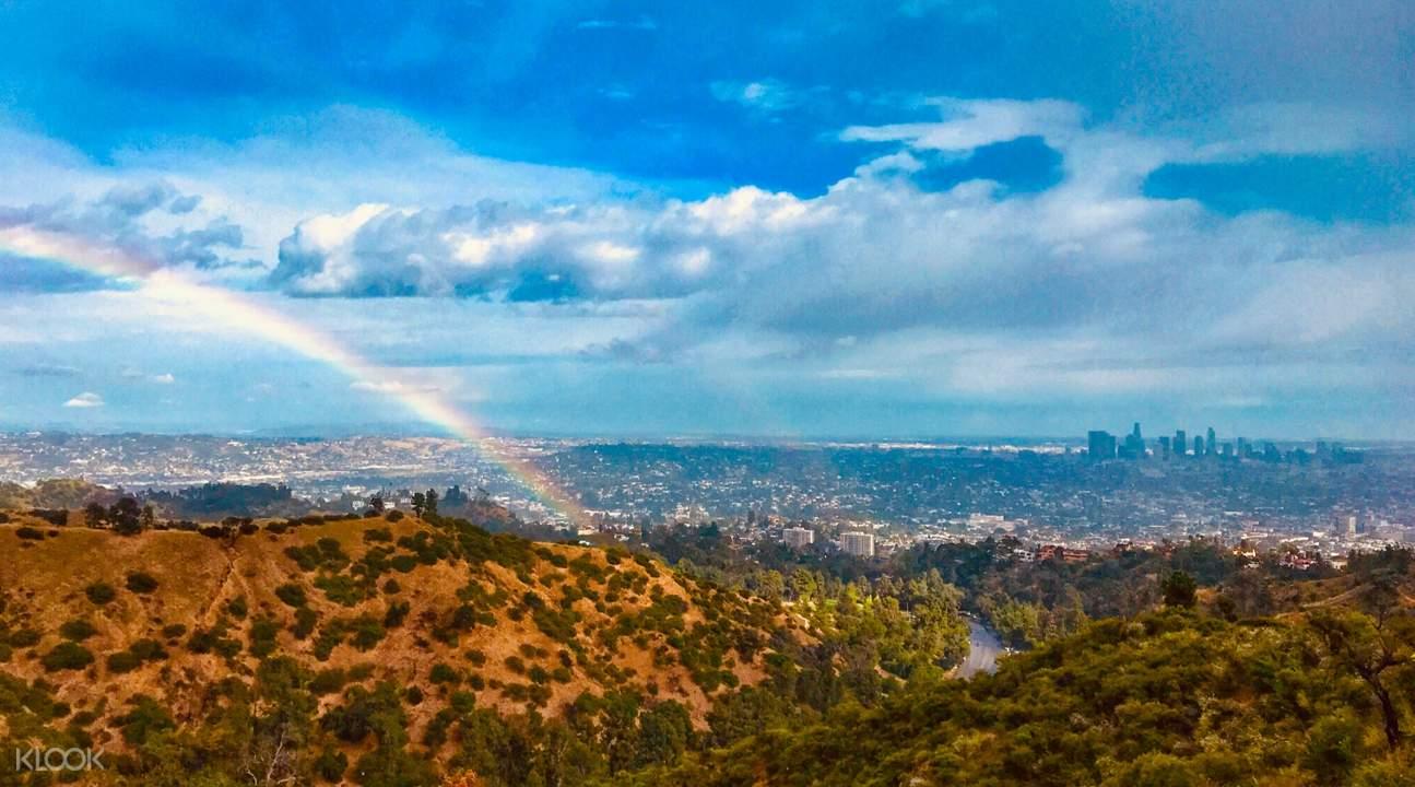 rainbow over mount hollywood