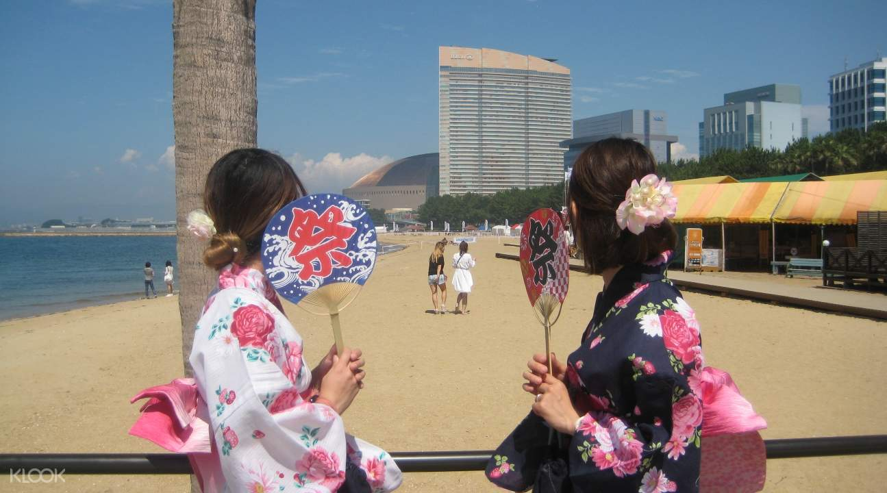 haneya kimono rental, haneya kimono rental in fukuoka, fukuoka kimono rental, fukuoka tower observatory