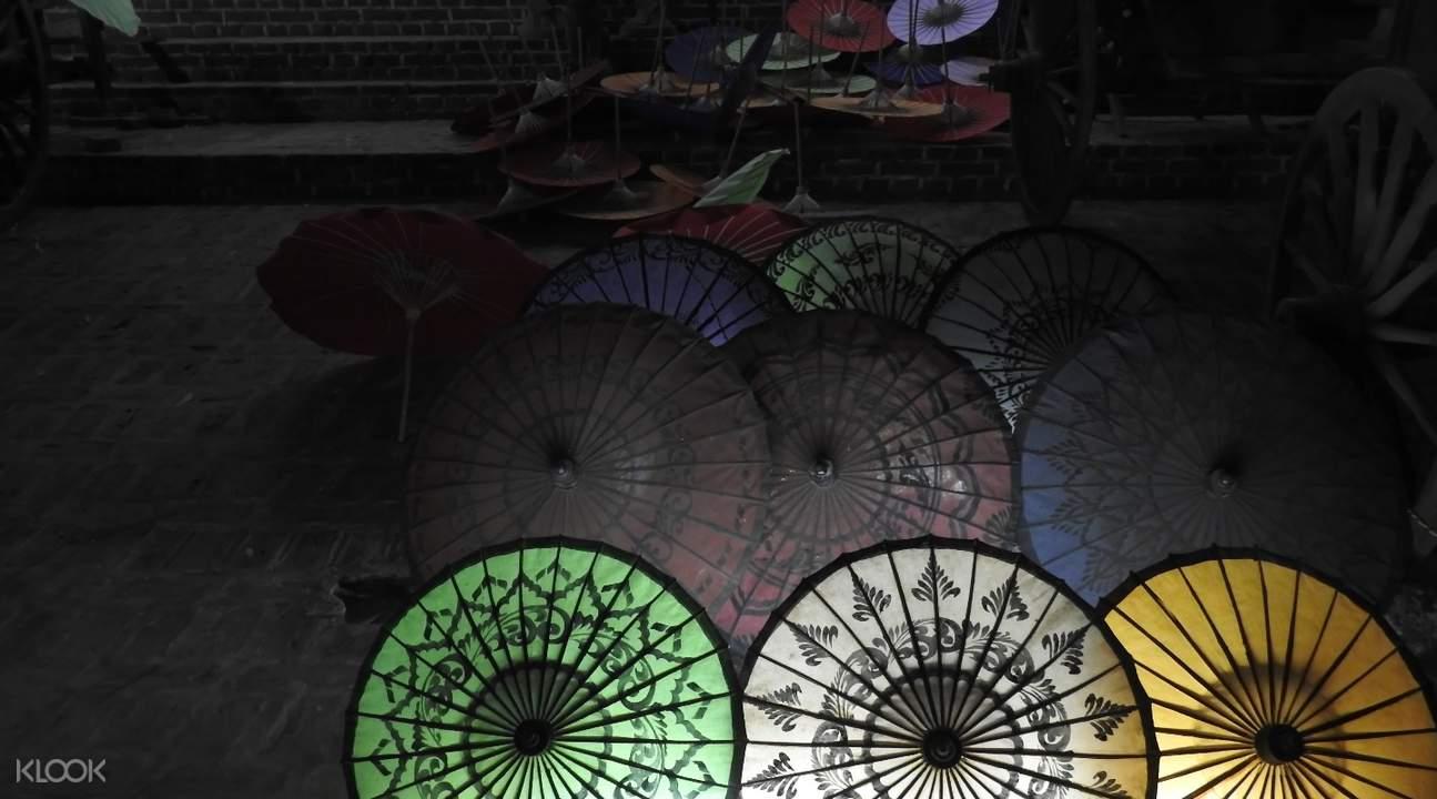 mahamuni pagoda paper umbrellas factory mandalay myanmar